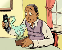 Illustration of man holding a cell phone while a ghost hand reaches into his wallet to take cash