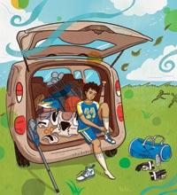 Ilustración de un adolescente poniéndose su uniforme de fútbol and la parte trascera de una mini van