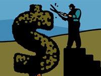Ilustración de un hombre cortando una signo de un dolar - reducción de gastos para planificar su retiro