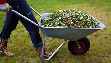 A woman wheeling a wheelbarrow full of leaves and grass clippings to a compost pile.