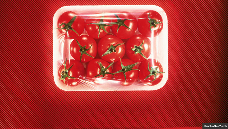 Tomatoes packaged in styrofoam and plastic.