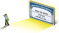 Illustration of man contemplating a large Social Security card