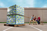 Family trying to drag home a pallet of cleaning supplies from a discount club