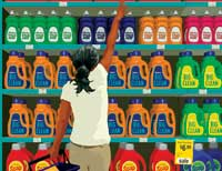 Illustration of woman trying to reach for an item high on store shelf