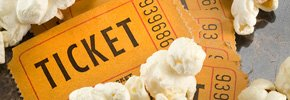 Movie ticket and popcorn. 99 Ways to Save.