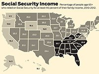 Databank USA infographic on percentage of people 65+ who rely on SS for 9-0% of their income.