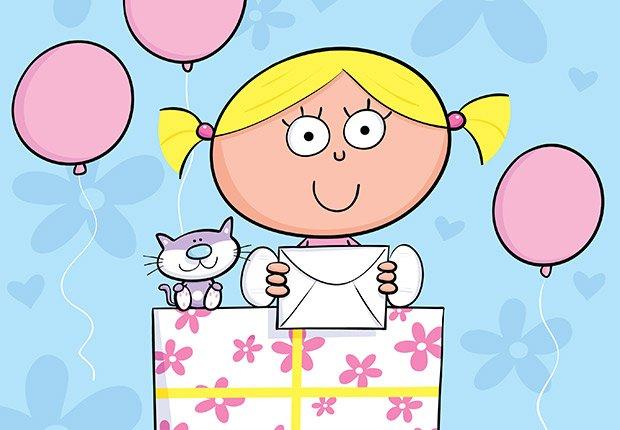 Dibujo de una muchacha con regalos materia de niños, regalos de cumpleaños y ofertas