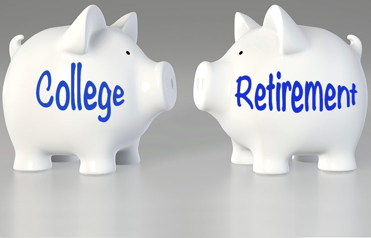Two piggy banks, Setzfand column: Save for College or Retirement?