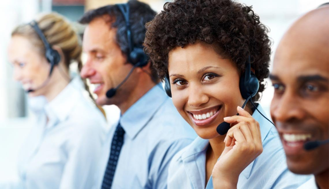 Customer care executive during work