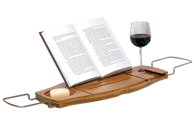For bookworm: Umbra Aquala Bamboo and Chrome Bathtub Caddy