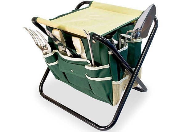 GardenHOME Folding Stool with Tool Bag & 5 Tools All-in-One