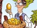 Ilustración de un hombre sosteniendo un huevo de oro frente a un nido con más huevos de oro - Financiación para nuevo proyecto
