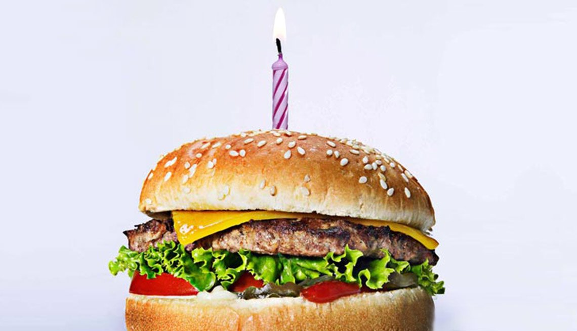 birthday hamburger with a candle