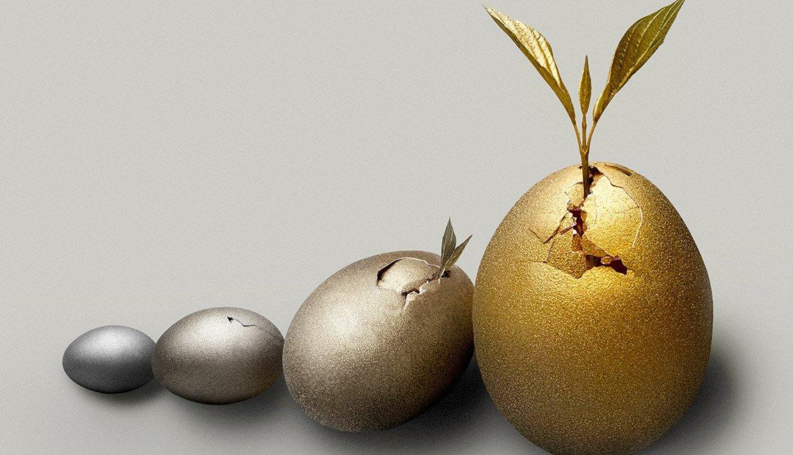 Imágenes de frutas y huevos decorados - Jubilación y seguridad financiera