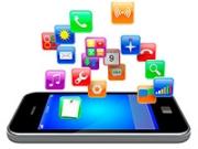Ilustración de un teléfono inteligente con íconos de aplicaciones - Gana dinero desde casa.