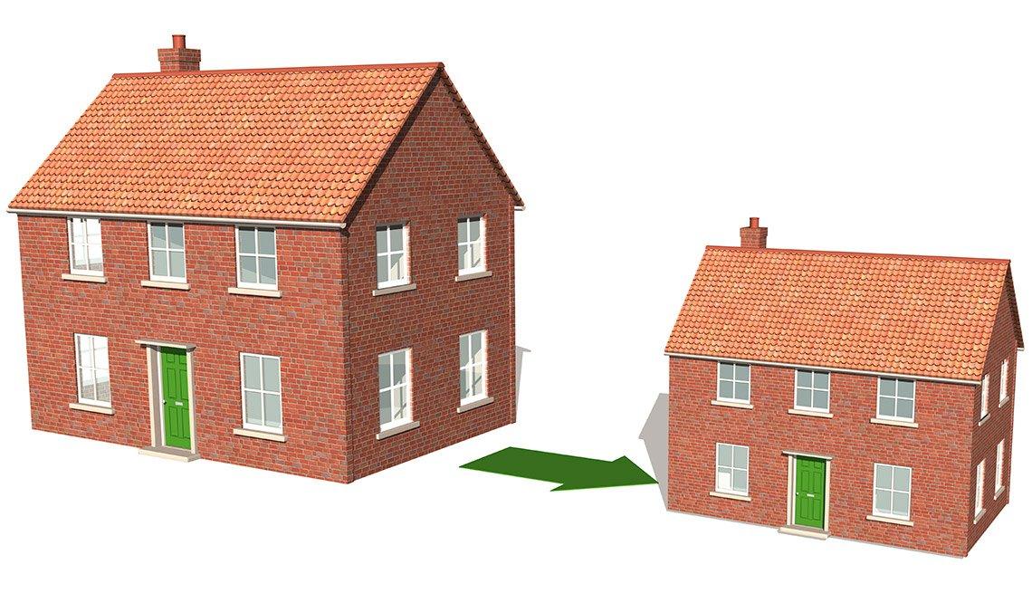 Dibujo de una casa grande y una segunda casa con pequena - Formas de reducir tu espacio