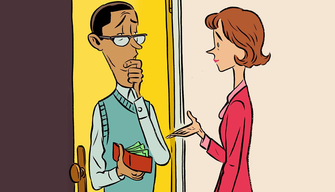 Ilustración de un hombre con su billetera en la mano y una mujer con la mano extendida - Préstamos a extraños
