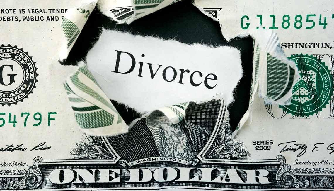 Billete de dólar con la palabra divorcio en la mitad - Divorcio y beneficios conyugales del Seguro Social