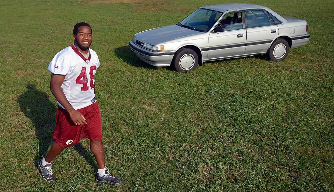 Washington Redskins running back Alfred Morris has a four-year, $2.2 million contract and still drives his 1991 Mazda