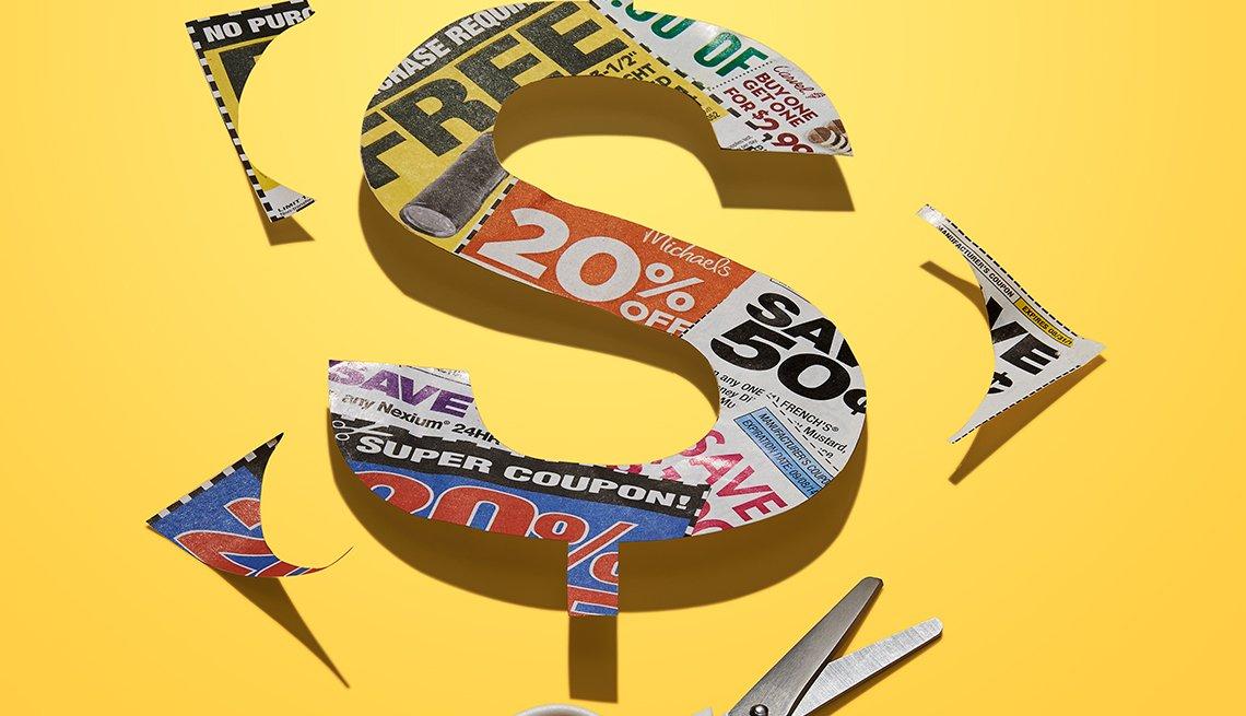 Signo de dólares hecho con recortes de cupones - Mejores maneras de gastar $200