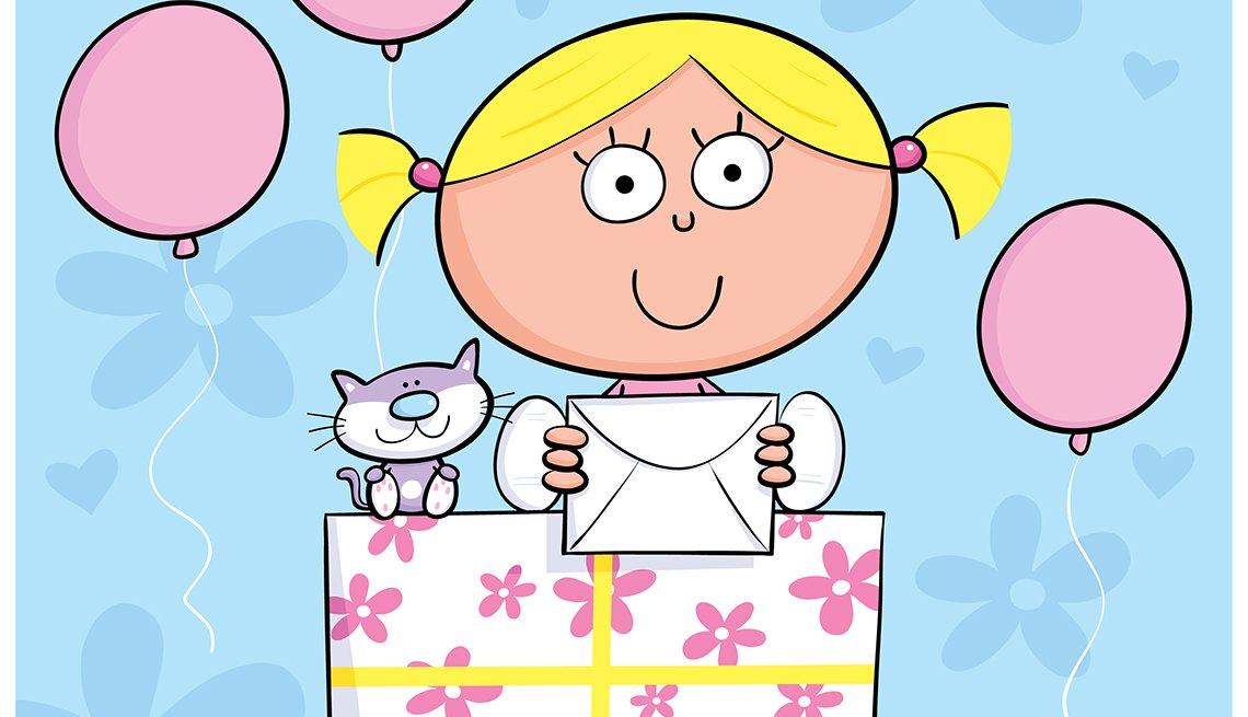 Ilustración de una niña con un gato al lado sentados sobre una caja de regalo, y no te olvides de los descuentos de cumpleaños