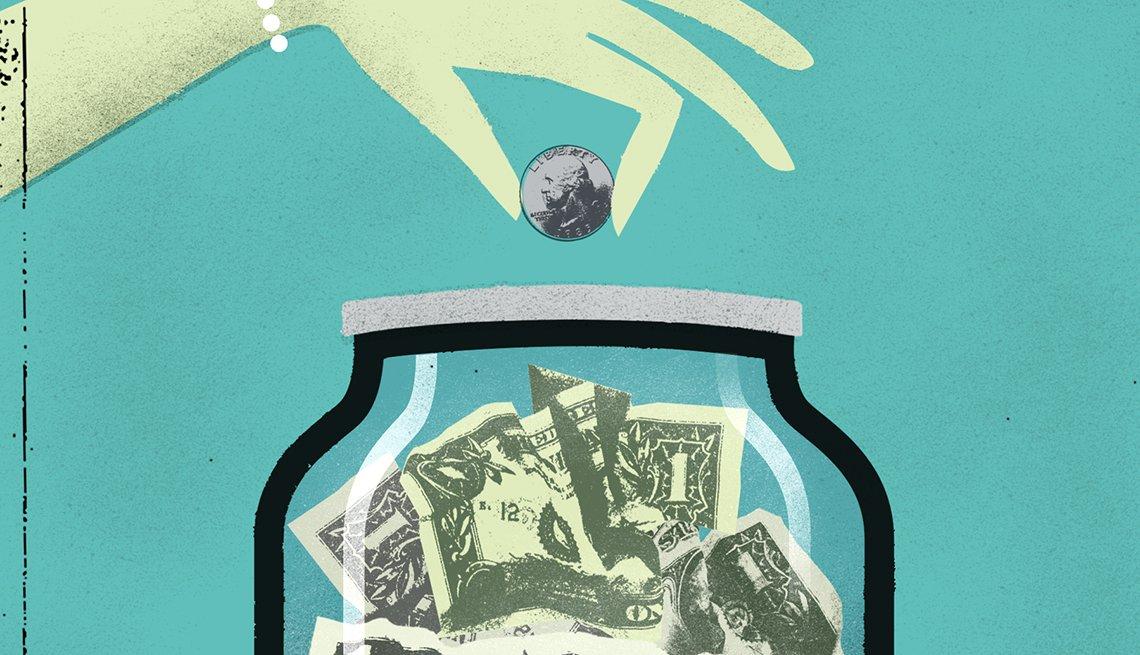 Ilustración de una alcancía de vidrio y una mano colocando una moneda
