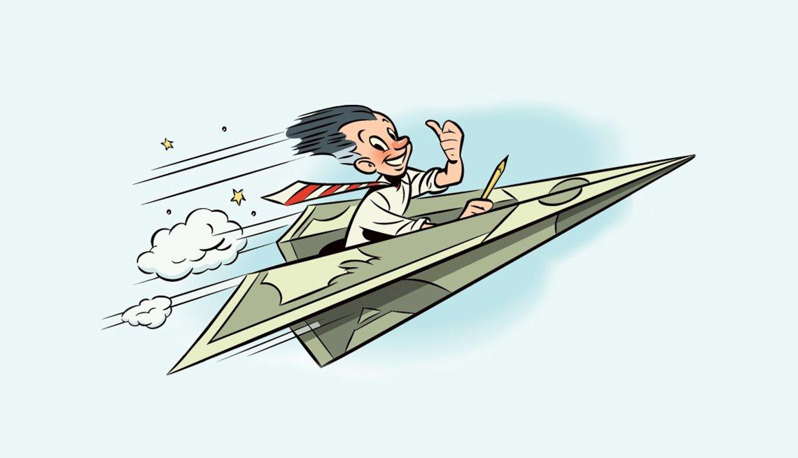 Ilustración de un hombre en un avión hecho en un billete de dólar y cómo está tu coeficiente intelectual para las finanzas
