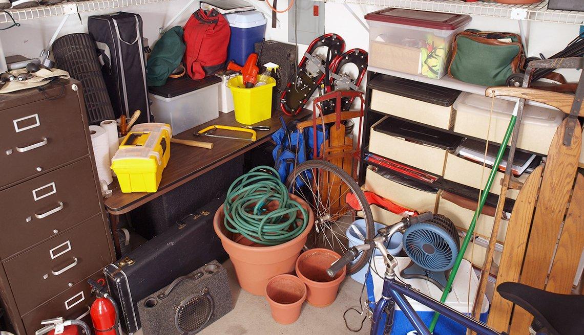 cluttered storage garage