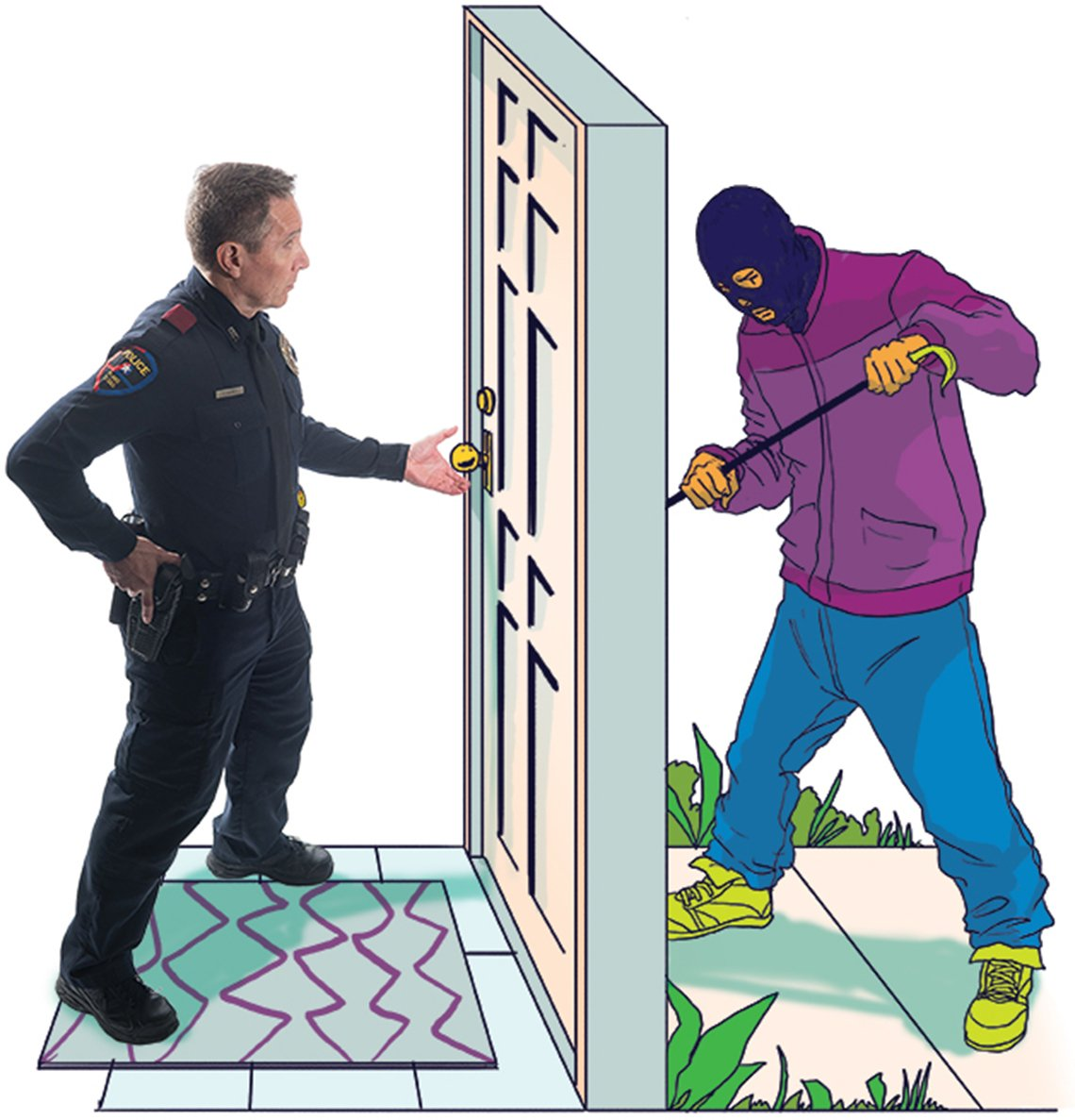 cop stopping a robber at a door