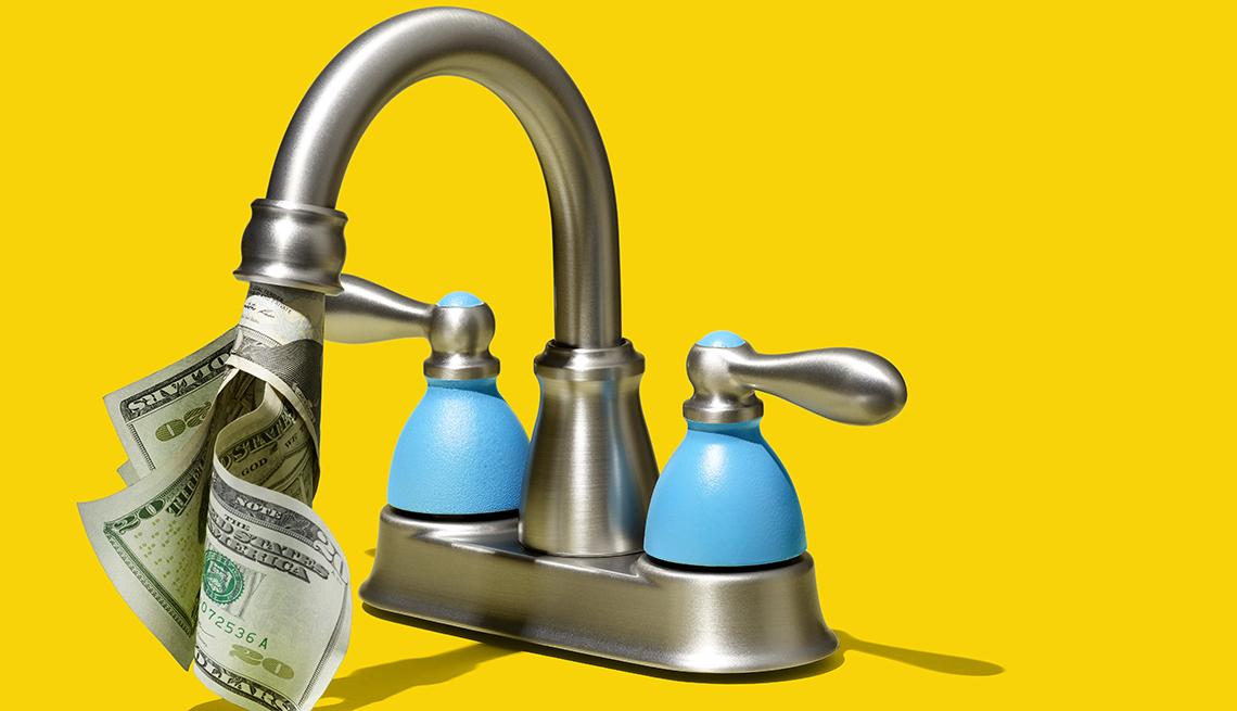 Llave de lavaplatos de donde salen dólares