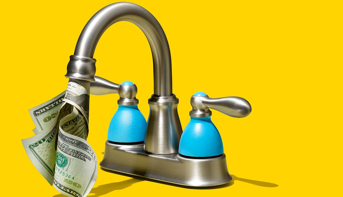 faucet with money coming out of it