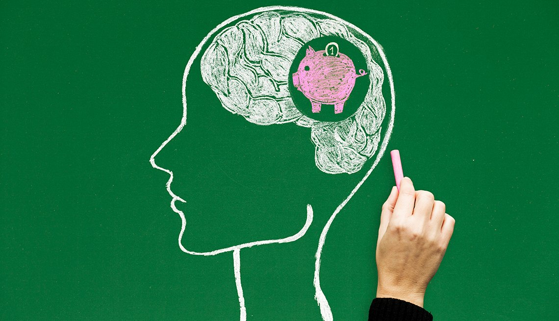 chalk drawing of a brain with money in it