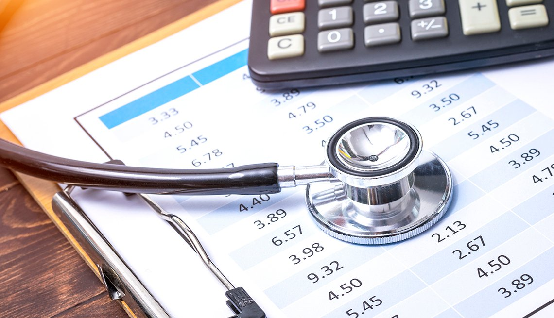 Stethoscope on clipboard with financial information with calculator in the background