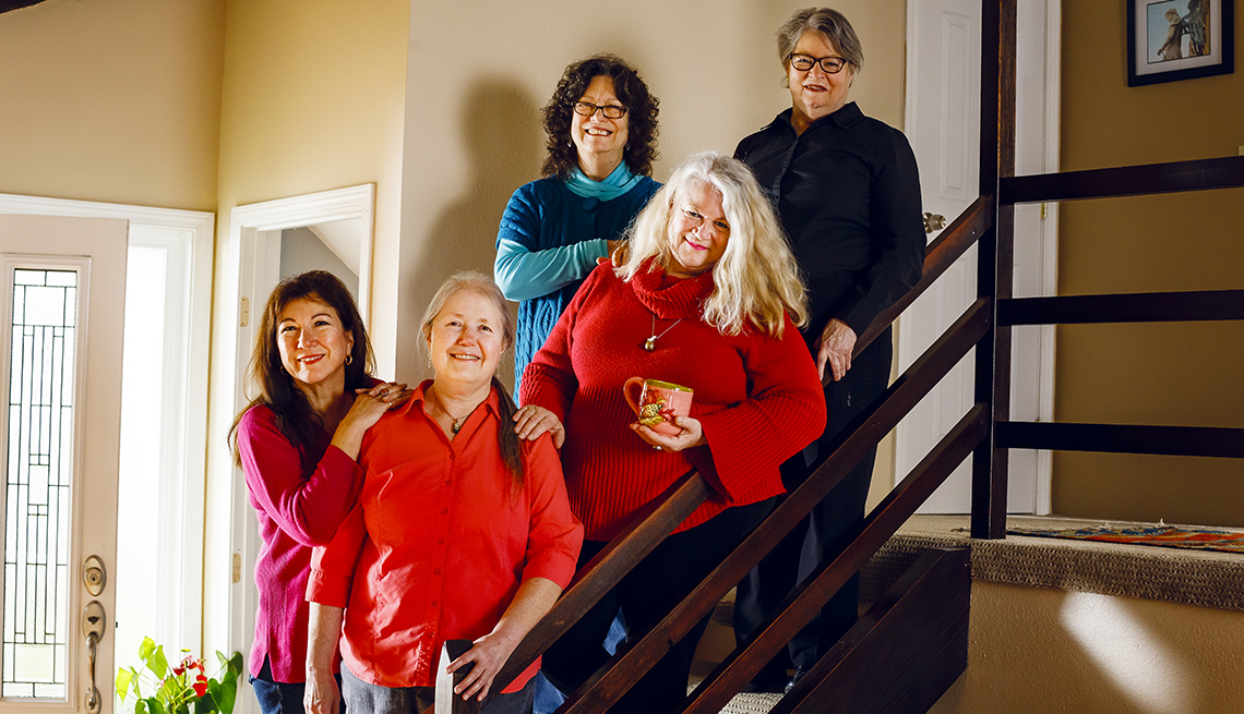 From left: Christine Bowdish, Linda Simmons-Wilfert, Hester Schell, Grace Karen Sweet, and Maggie Purtee. The tenants make house rules, share chores and movie nights and decide collectively who gets to join the community.