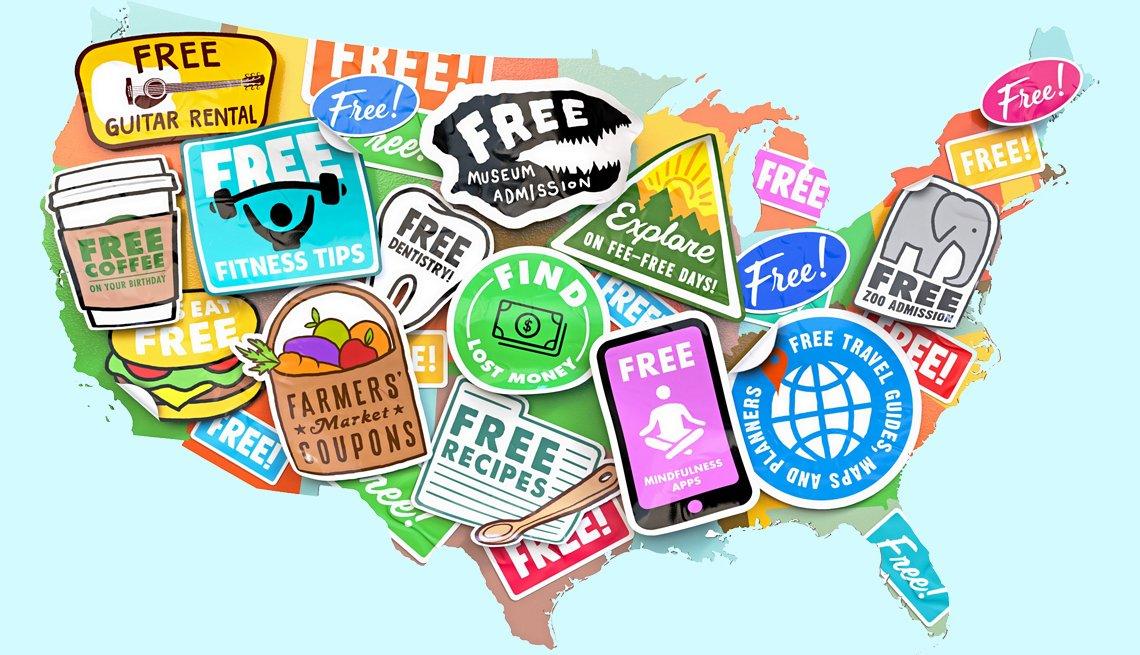Mapa de Estados Unidos con calcomanías de productos gratis.