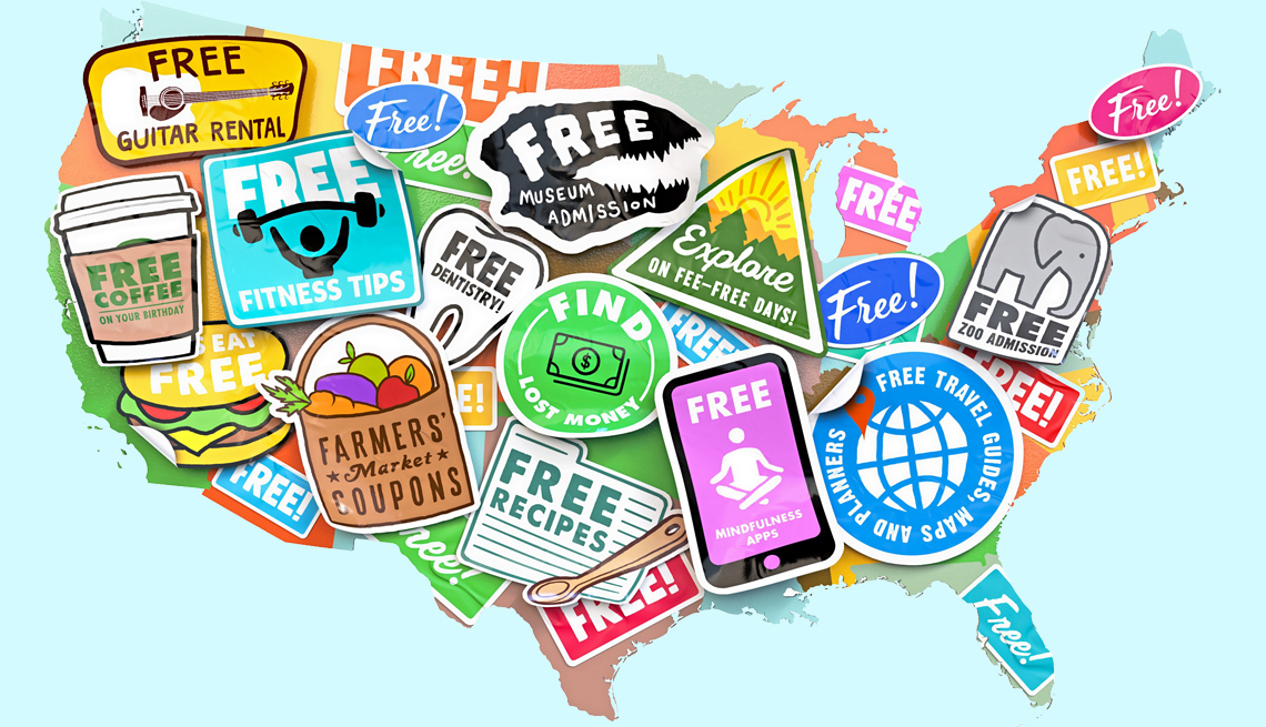 U.S. map with illustrated free offer stickers