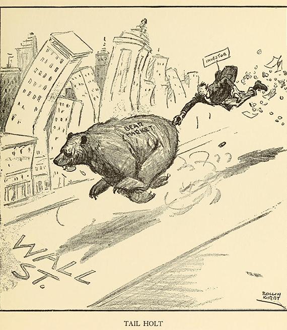 Dibujo de un oso corriendo por una calle que dice Wall St en 1929, cuando el mercado de valores cayó.