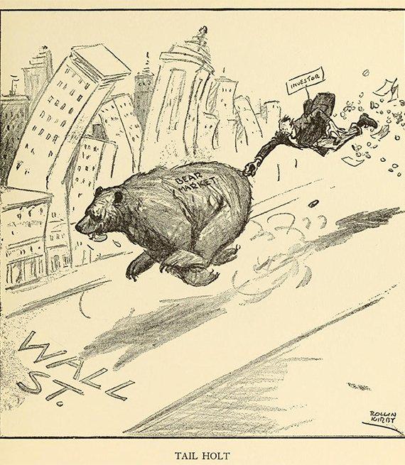 cartoon of a Bear Market running wild on Wall Street during the 1929 stock market crash