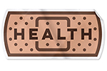 illustration of a sticker shaped like a band aid with the word health overlaid
