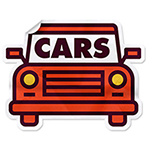 illustration of a sticker shaped like a car with the word car in the windshield