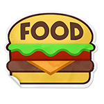 illustration of a sticker shaped like a hamburger with the word food in the top of the bun