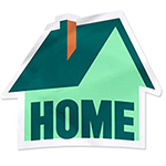 illustration of a house shaped sticker with the word home in it