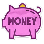 illustration of a sticker shaped like a piggybank with the word money overlaid