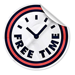 illustration of a sticker shaped like a clock face with the words free time on it