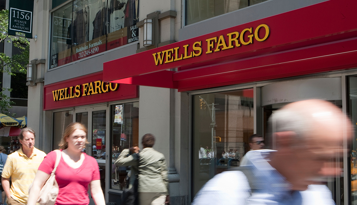people walking by Wells Fargo bank