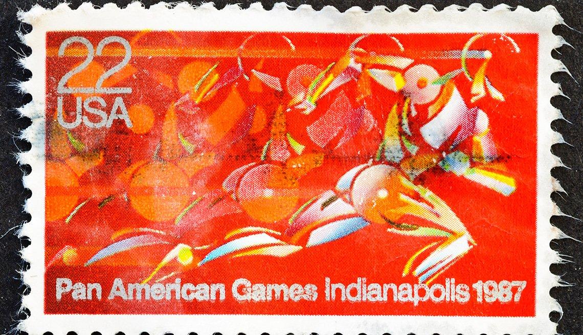 item 3 of Gallery image - Estampilla de los Juegos Panamericanos, Indianapolis, 1987.