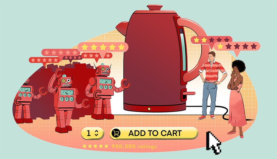 illustration of online product review concept showing more robots than real people offering reviews