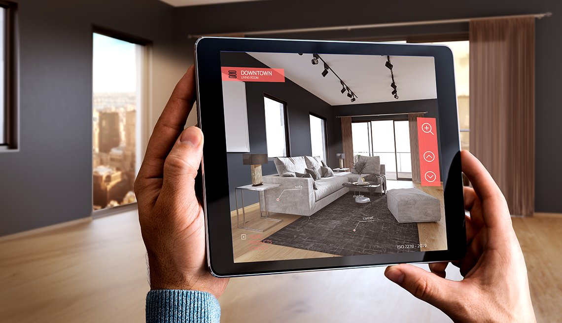 Augmented reality of a modern living room displayed on mobile device