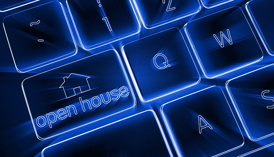 Open house real estate button keyboard with blue electronic glow