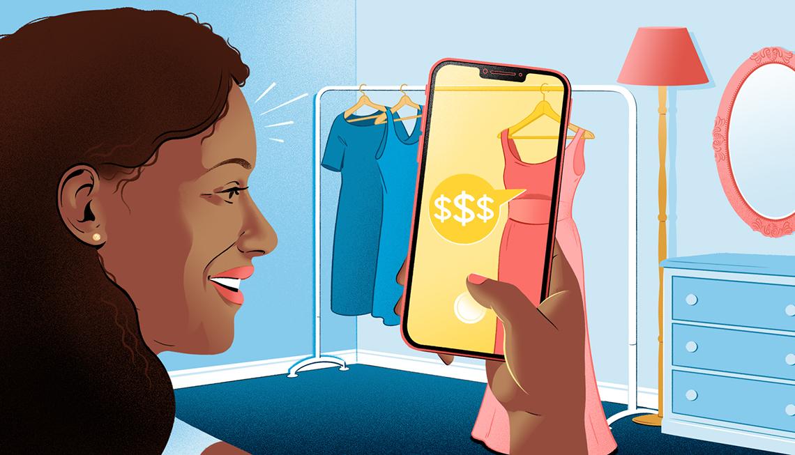 Ilustración de una mujer sosteniendo un teléfono móvil y tomando una foto de un vestido.